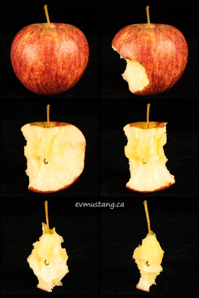 image of a royal gala apple in six stages of being eaten